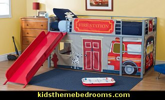 Fire engine theme beds fire truck theme beds firefighter kids room theme decorating ideas - Fireman bunk bed ...