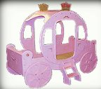 cinderella coach bed - princess theme bedroom decorating ideas and princess - unicorn - castle - fairytale theme decor
